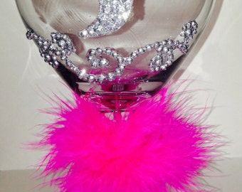 Bling Wine Glass, Bling Bridal Wine Glass, Bling Glasses, Monogrammed Wine Glass