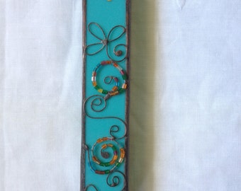 HANDMADE MEZUZAH CASE   Turquoise Color with Beads Filigree.Wall Hanging, Ethnic Art Decor, Beautiful Jewish Housewarming Stained Glass Gift