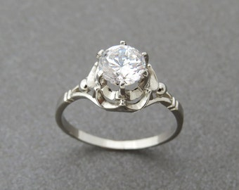 White Topaz Engagement Ring, 14k Gold White Topaz Ring, Solitaire Ring, Vintage Style Ring, Unique Engagement Ring, Topaz Gold Ring