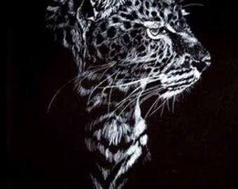 Leopard Scratchboard Etching Print