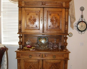 "French Country Buffet Sideboard China Cabinet Hand Carved ""HENRI II"" c1890"