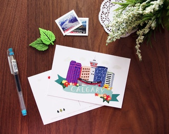 Greeting from Calgary Postcard | City Love Collection | Handdrawn Illustration Print | Alberta, Canada