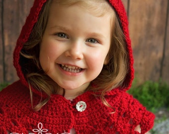 Red Capelet - Made to Order in 3-4 Weeks - Fall Winter Coverup - Red Christmas Sweater - Baby Girl Prop - Fairytale Prop - Hooded Cowl