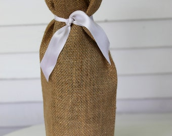 metallic gold burlap wine bag, gift bag,  wedding gift bag, wedding wine bag, wedding party gift, housewarming gift, rustic gift