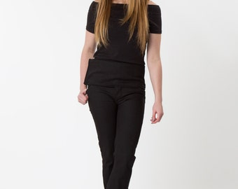 Ethical WOMEN'S handmade black skinny fit kick-flared Jeans, with high waist. Size UK 12 Tall leg. 20% OFF