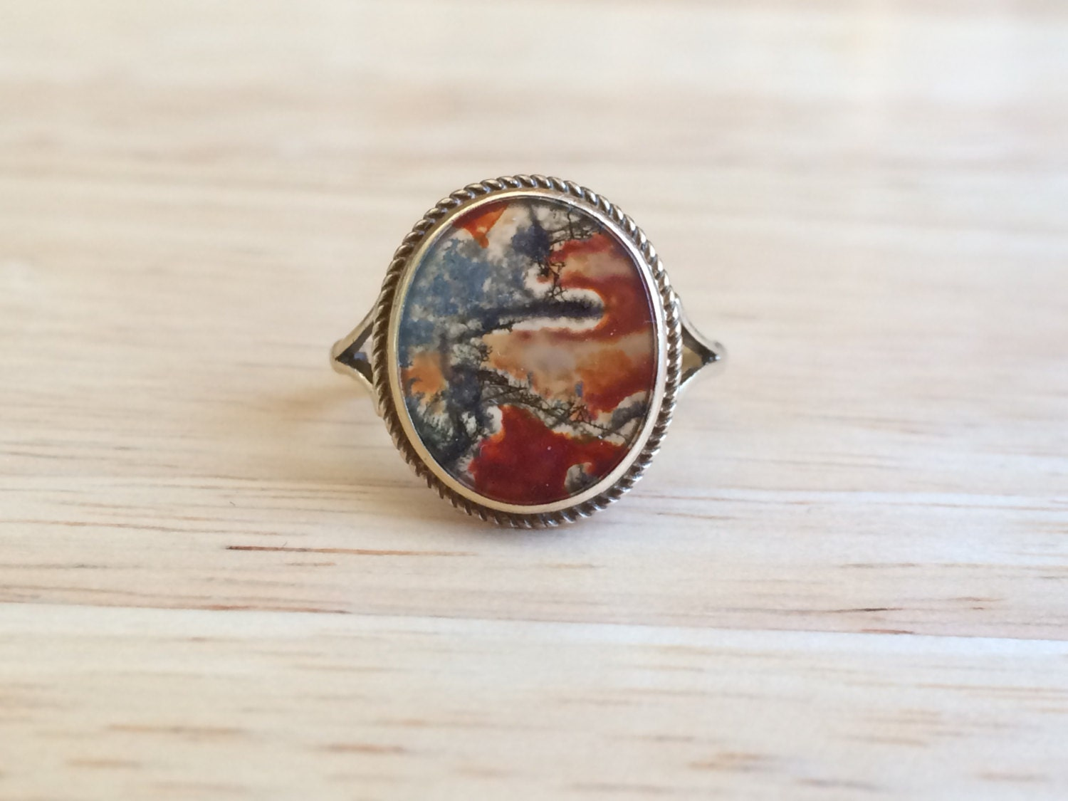 Golden Moss Agate: Vintage Gold Moss Agate Ring 9ct Yellow Gold Stone Size 6