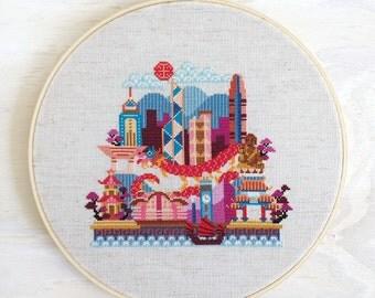 Pretty Little Hong Kong - Satsuma Street Modern Cross Stitch Pattern PDF - Instant download