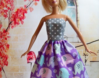 Handmade Barbie Clothes - Elephant Dress, Modest Dress, Party Dress, Purple Dress, Polka Dot Dress, Fashion Doll Clothes, Purple and Gray