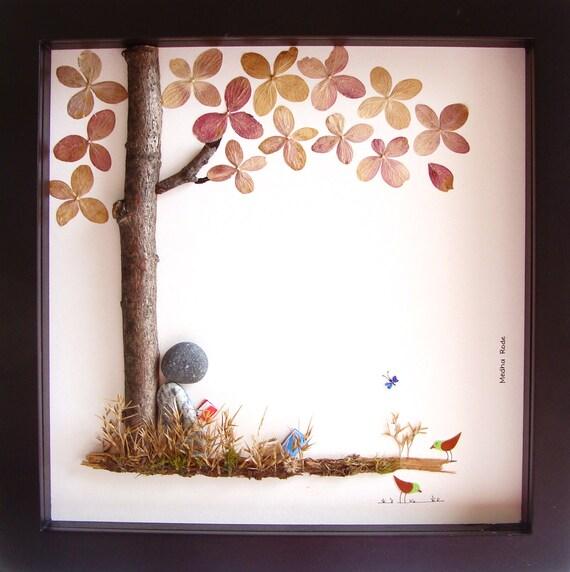 Nature Wall Decor: Book Lover Pebble Art Girls Room Decor Nursery Art Children