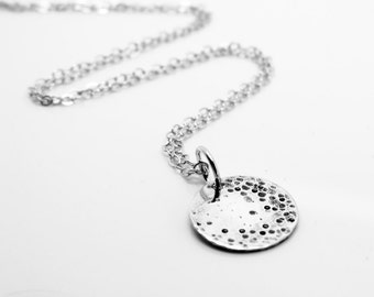 Sterling Silver Full Moon Charm Pendant Necklace   Cozmoz Collection   Crescent Moon, Lunar, Astrology, Craters, Oxidized, Made to Order