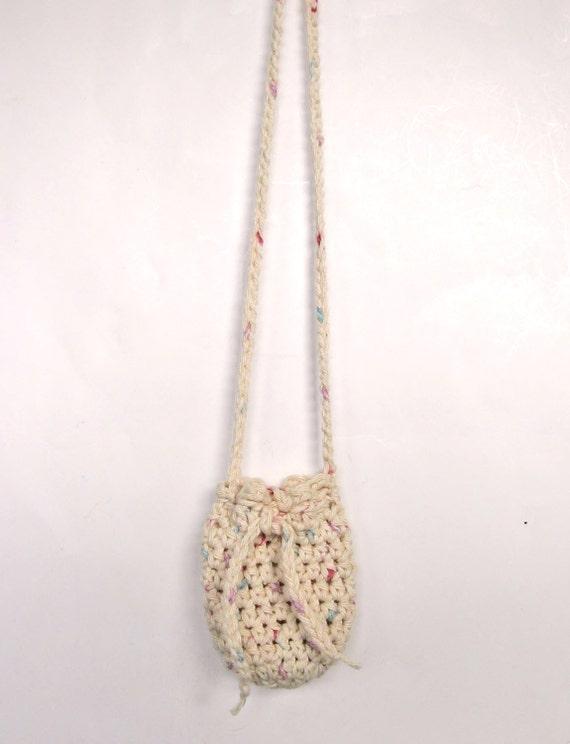 Beige Crochet Necklace Pouch Rune Bag Gem by ...