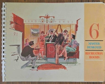 Mid-Century REC ROOM  Plan BOOK 6 Master-Designed Recreation Rooms Published in 1961