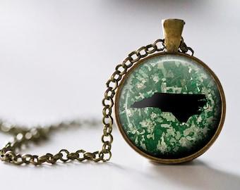 North Carolina Pendant Necklace - North Carolina Jewelry - State Pendant - State Necklace - State Jewelry