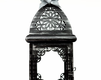 Black Silver Wedding Candle Lantern Centerpiece/ Morrocan Decor/ Filigree Metal Candle Holder/ Wedding Lighting