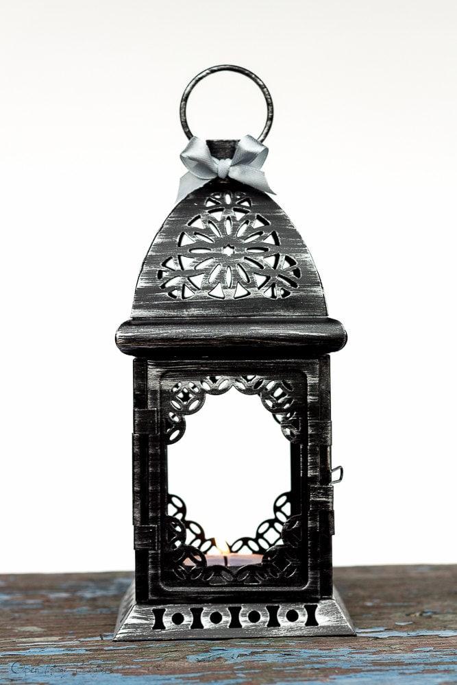 Black silver wedding candle lantern centerpiece morrocan
