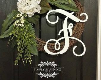 Custom Fern Greenery Outdoor Summer Wreath Monogram Grapevine Wreath