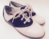 Vintage Black and White Faux Leather Saddle Shoes Girls Size 2