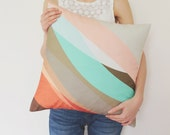 Abstract Pastel Pillow Cover in Tan, Gray, Red, Sugar Pink, Mint and Brown / Modern Cushion / Abstract Cushion / Pastel Pillow / 45x45 cm