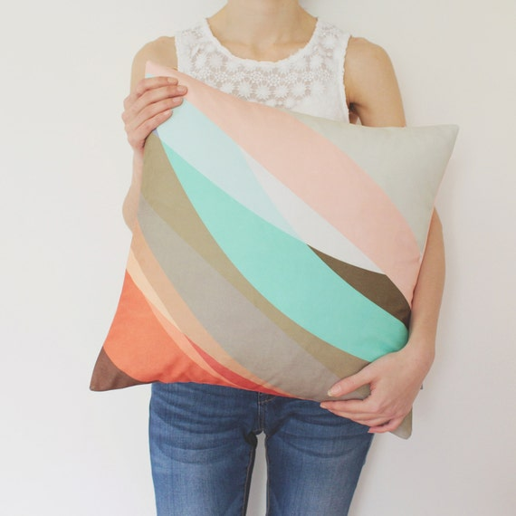 Abstract Pastel Pillow Cover In Tan Gray Red Sugar Pink By