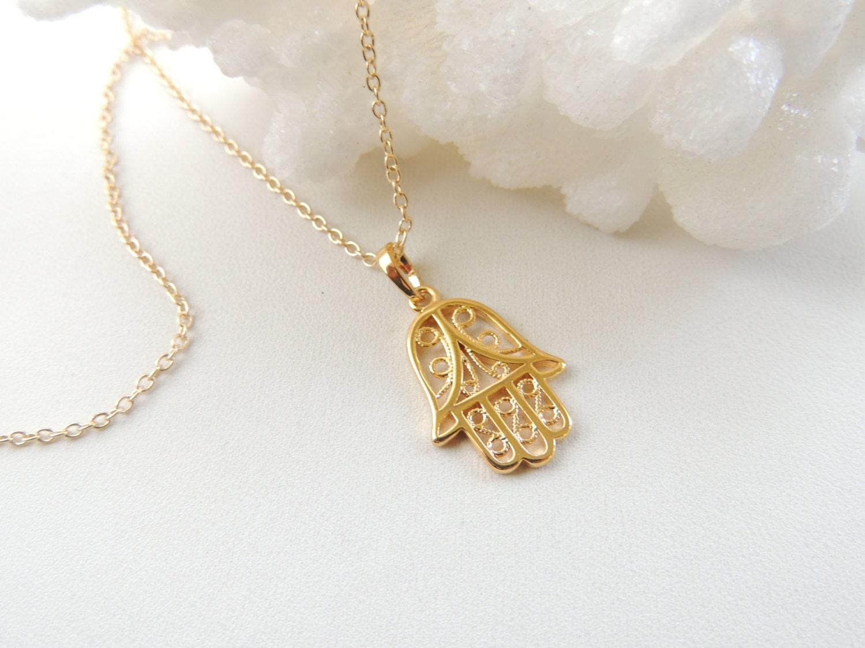 Gold Hand Necklace Fatima Hamsa Hand Necklace Pendant