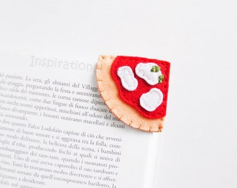 Felt Pizza Bookmark, italian pizza slice corner bookmark, school supply gift idea, funny accessory for book lovers, felt food, kids fun gift