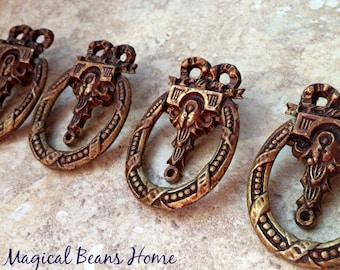 Antique Drawer Pulls Victorian Furniture Pulls Brass Drawer Pulls KBC  Ribbon Bow Ring Pulls Copper Cabinet