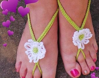 Cotton crochet Daisy barefoot/beach sandals lime green gypsy boho goddess