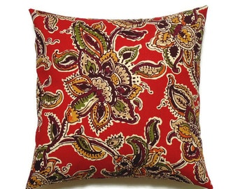 Fall Floral Pillow Cover, 16x16 Pillow Cover, Red Decorative Pillows, Floral Pillow Sham, Accent Pillow, Cushion Cover, Tineka Red Tribal