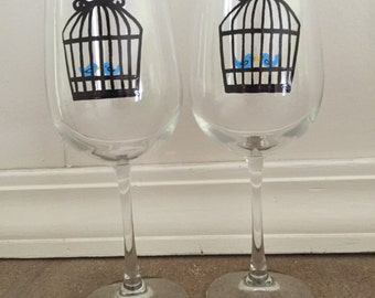 Hand Painted Vintage Bird Cage Wine Glasses - set of 2