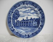 Old English Staffordshire Mount Vernon Blue and White Jonroth England Souvenir Plate Transferware