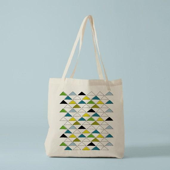 Tote Bag Green Triangles, canvas bag, groceries bag, cotton bag, shopping bag, yoga bag, cat bag, dog bag, knitting bag, pet bag, laptop Bag