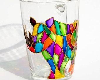 Rhino Gift, Rhinoceros, Rhino Mug, Mosaic Mug, Rhino Coffee Cup