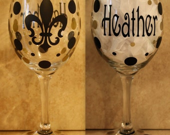 Personalized Fleur-de-Lis  Wine Glass