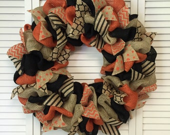 Large Burlap Halloween Wreath, Halloween Door Decor, Fall Wreath, Fall Burlap Wreath, Orange Black Wreath