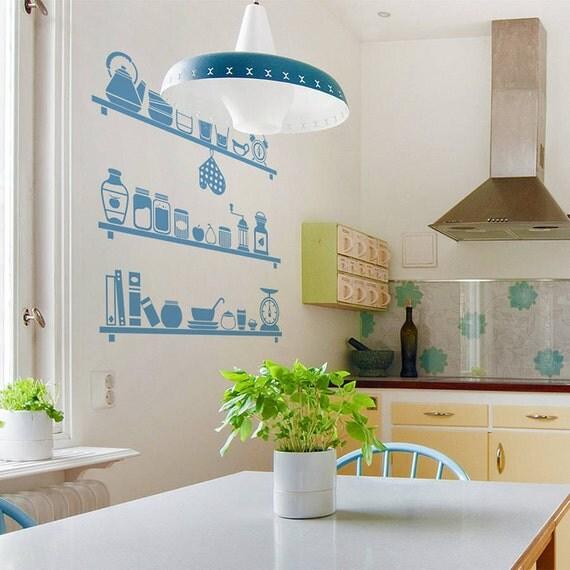 Wall Stickers Kitchen Design : Scandinavian kitchen shelves wall sticker by sirfacegraphics