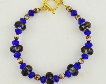 Blue and Gold Handmade Lampwork Bead Bracelet