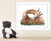 """Giraffe Wall Art, Safari Nursery, Giraffe Art Nursery, Childrens Wall Art, Nursery Art for Giraffe Nursery, Baby Room Decor - 11"""" x 14"""""""