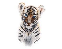 Jungle Nursery Decor, Baby Animal Print, Baby Tiger, Animal Portrait, Jungle Animal, Baby Decor, Tiger Print, Baby Animal Art 13x19