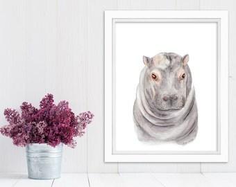 Hippo Art Print, Baby Hippo, Safari Nursery, Kids Wall Decor, Hippo Nursery, Animal Art, Watercolor, Baby Girl, Gray, Pink