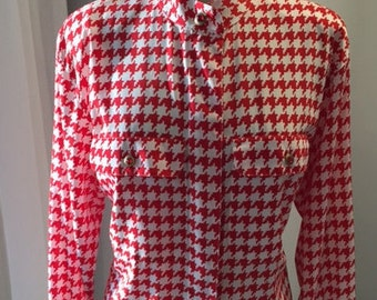 VINTAGE 1980's LIZ CLAIBORNE Red Hounds Tooth Blouse