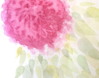 Abstract Bright Pink Hydrangea Flower, Original Watercolor Painting