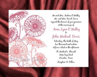 Daisy Flower Wedding Invitation & RSVP  - Floral Wedding Invitation and RSVP -  Wedding Invitation Daisy - Design 3
