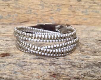 Triple wrap white zipper bracelet / Zipper Bracelet / Wrap Bracelet