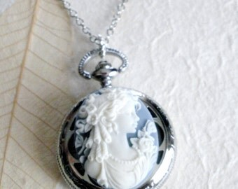 BIG Victorian Lady Cameo Necklace, Victorian Cameo Pocket Watch Necklace, Vintage Style Victorian Lady Watch Necklace, Romantic Gift for Her