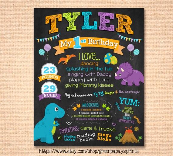 Dinosaur First Birthday Chalkboard Poster By Greenpapayaprints