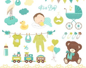 """Baby Shower Clip Art - """"BABY SHOWER"""" Clip Art. Baby Boy.Birth Announcement. Baby Shower Invitation. Banners. Teddy Bear.Commercial Use."""