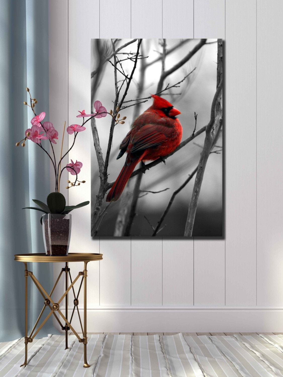 Red Cardinal Bird Black And White Photograph Nature Home Decor