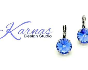 SAPPHIRE 12mm Crystal Rivoli Drop Earrings Swarovski Elements *Pick Your Finish *Karnas Design Studio *Free Shipping