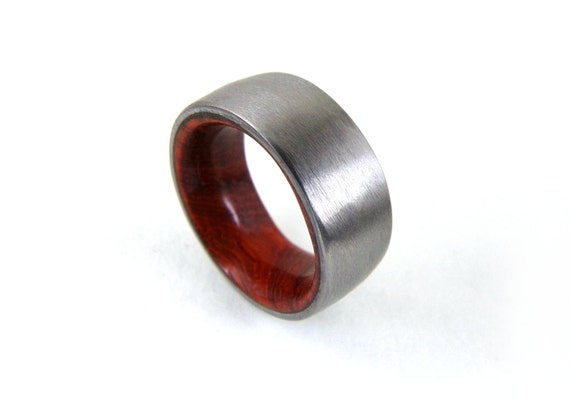 wood wedding ring wedding ring wood and metal ring wood and