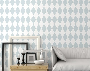 Harlequin wall stencil - Decorative wall stencils for DIY projects - Wallpaper look - Geometric stencil - DIY home decor